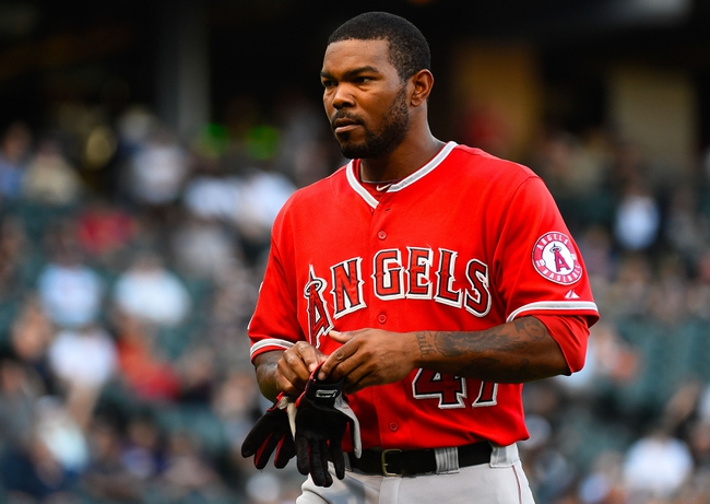 Jul 1, 2014; Chicago, IL, USA; Los Angeles Angels second baseman Howie Kendrick (47) during the ninth inning at U.S Cellular Field. Mandatory Credit: Mike DiNovo-USA TODAY Sports