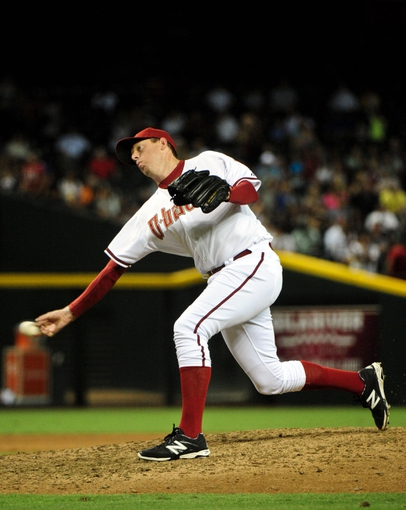 Jul 8, 2014; Phoenix, AZ, USA; Arizona Diamondbacks relief pitcher Brad Ziegler (29) throws during the eighth inning against the Miami Marlins at Chase Field. Mandatory Credit: Matt Kartozian-USA TODAY Sports