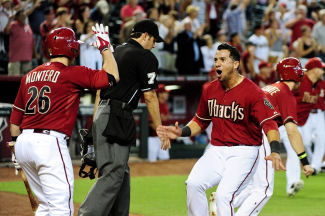 Jul 9, 2014; Phoenix, AZ, USA; Arizona Diamondbacks left fielder David Peralta (6) celebrates with center fielder Ender Inciarte (5) after scoring the winning run to beat the Miami Marlins 4-3 in the tenth inning at Chase Field. Mandatory Credit: Matt Kartozian-USA TODAY Sports