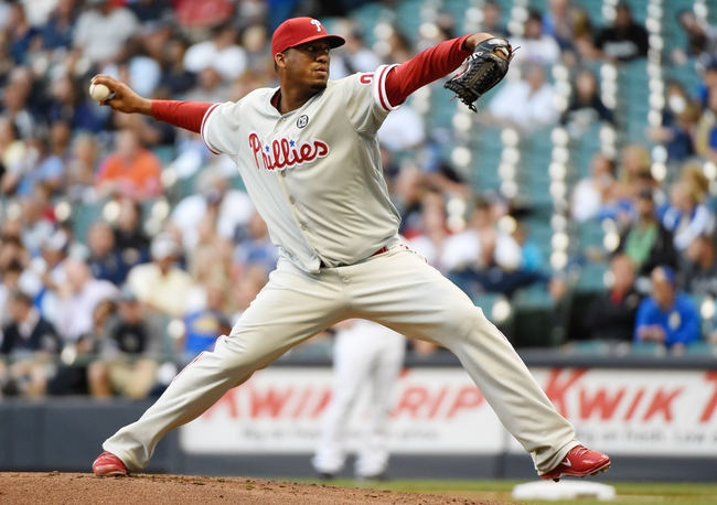 Jul 9, 2014; Milwaukee, WI, USA; Philadelphia Phillies pitcher Roberto Hernandez (27) pitches in the first inning against the Milwaukee Brewers at Miller Park. Mandatory Credit: Benny Sieu-USA TODAY Sports