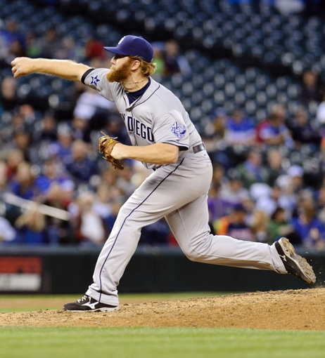 Jun 16, 2014; Seattle, WA, USA; San Diego Padres relief pitcher Blaine Boyer (58) pitches to the Seattle Mariners during the sixth inning at Safeco Field. Mandatory Credit: Steven Bisig-USA TODAY Sports