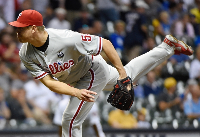 Jul 9, 2014; Milwaukee, WI, USA; Philadelphia Phillies pitcher Jonathan Papelbon (58) pitches in the ninth inning against the Milwaukee Brewers at Miller Park. The Phillies beat the Brewers 4-1. Mandatory Credit: Benny Sieu-USA TODAY Sports