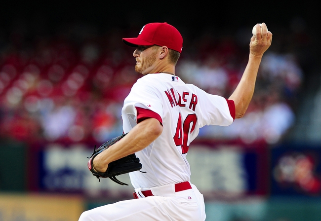 Jul 10, 2014; St. Louis, MO, USA; St. Louis Cardinals starting pitcher Shelby Miller (40) throws to a Pittsburgh Pirates batter during the first inning at Busch Stadium. Mandatory Credit: Jeff Curry-USA TODAY Sports