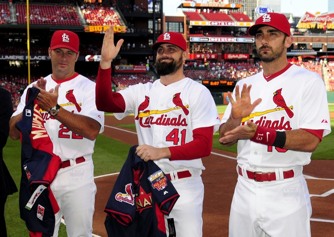 Jul 10, 2014; St. Louis, MO, USA; St. Louis Cardinals relief pitcher Pat Neshek (41) waves to the fans after receiving his All-Star jersey before a game against the Pittsburgh Pirates at Busch Stadium. Mandatory Credit: Jeff Curry-USA TODAY Sports