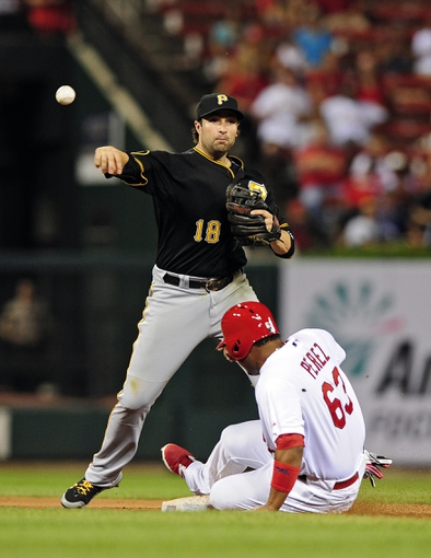 Jul 10, 2014; St. Louis, MO, USA; Pittsburgh Pirates second baseman Neil Walker (18) turns a double play to end the game against the St. Louis Cardinals at Busch Stadium. Pirates defeated the Cardinals 9-1. Mandatory Credit: Jeff Curry-USA TODAY Sports