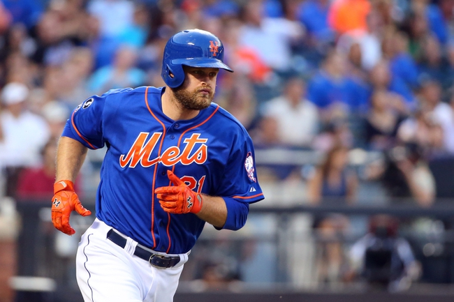 Jul 11, 2014; New York, NY, USA;  New York Mets first baseman Lucas Duda (21) runs out on his home run that brings in third baseman David Wright (not pictured) to score during the third inning against the Miami Marlins at Citi Field. Mandatory Credit: Anthony Gruppuso-USA TODAY Sports