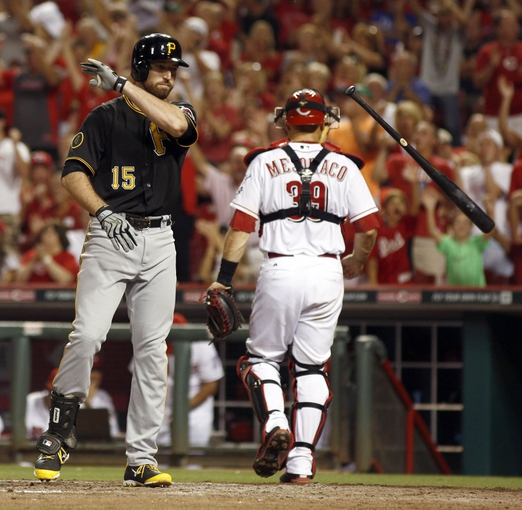 Jul 11, 2014; Cincinnati, OH, USA; Pittsburgh Pirates first baseman Ike Davis (15) throws his bat after striking out with the bases loaded in the eighth inning against the Cincinnati Reds at Great American Ball Park. The Reds won 6-5. Mandatory Credit: David Kohl-USA TODAY Sports