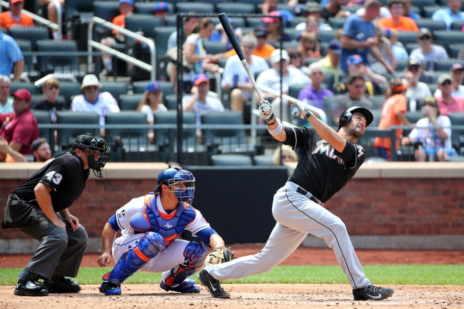 Jul 13, 2014; New York, NY, USA;  Miami Marlins first baseman Garrett Jones (46) doubles to deep right during the fourth inning against the New York Mets at Citi Field. Mandatory Credit: Anthony Gruppuso-USA TODAY Sports