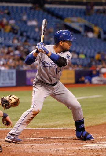 Jul 7, 2014; St. Petersburg, FL, USA; Kansas City Royals second baseman Omar Infante (14) at bat against the Tampa Bay Rays at Tropicana Field. Kansas City Royals defeated the Tampa Bay Rays 6-0.  Mandatory Credit: Kim Klement-USA TODAY Sports