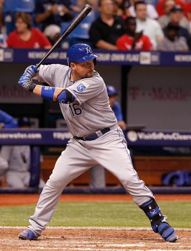 Jul 7, 2014; St. Petersburg, FL, USA; Kansas City Royals designated hitter Billy Butler (16) at bat against the Tampa Bay Rays at Tropicana Field. Mandatory Credit: Kim Klement-USA TODAY Sports