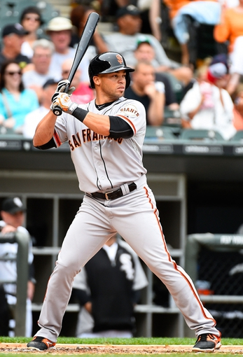 Jun 18, 2014; Chicago, IL, USA; San Francisco Giants left fielder Juan Perez (2) during the third inning at U.S Cellular Field. Mandatory Credit: Mike DiNovo-USA TODAY Sports