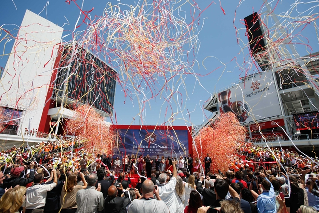 Jul 17, 2014; Santa Clara, CA, USA; Santa Clara mayor Jamie Matthews and San Francisco 49ers CEO Jed York celebrate during the ribbon cutting ceremony at Levi's Stadium. Mandatory Credit: Kelley L Cox-USA TODAY Sports