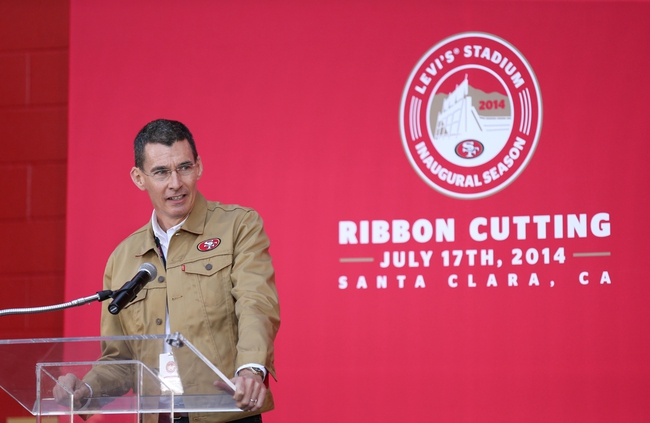 Jul 17, 2014; Santa Clara, CA, USA; Levi Strauss CEO and co-president Chip Bergh speaks during a press conference before the ribbon cutting ceremony at Levi's Stadium. Mandatory Credit: Kelley L Cox-USA TODAY Sports