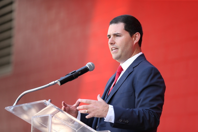 Jul 17, 2014; Santa Clara, CA, USA; San Francisco 49ers CEO Jed York speaks during a press conference before the ribbon cutting ceremony at Levi's Stadium. Mandatory Credit: Kelley L Cox-USA TODAY Sports