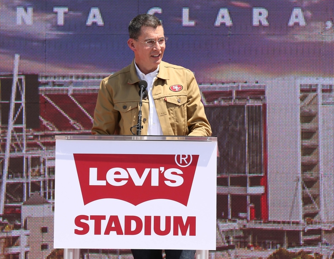 Jul 17, 2014; Santa Clara, CA, USA; Levi Strauss CEO and co-president Chip Bergh speaks during the ribbon cutting ceremony at Levi's Stadium. Mandatory Credit: Kelley L Cox-USA TODAY Sports