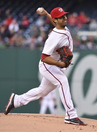 Apr 23, 2014; Washington, DC, USA; Washington Nationals starting pitcher Gio Gonzalez (47) works during the first inning against the Los Angeles Angels at Nationals Park. Mandatory Credit: Tommy Gilligan-USA TODAY Sports