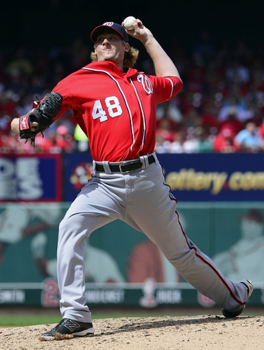 Jun 15, 2014; St. Louis, MO, USA; Washington Nationals relief pitcher Ross Detwiler (48) delivers a pitch against the St. Louis Cardinals during the seventh inning at Busch Stadium. Mandatory Credit: Scott Rovak-USA TODAY Sports