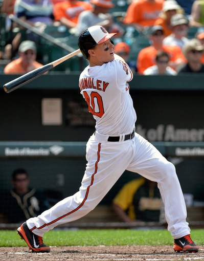 Jun 8, 2014; Baltimore, MD, USA; Baltimore Orioles catcher Nick Hundley (40) bats in the fifth inning against the Oakland Athletics at Oriole Park at Camden Yards. The Athletics defeated the Orioles 11-1. Mandatory Credit: Joy R. Absalon-USA TODAY Sports