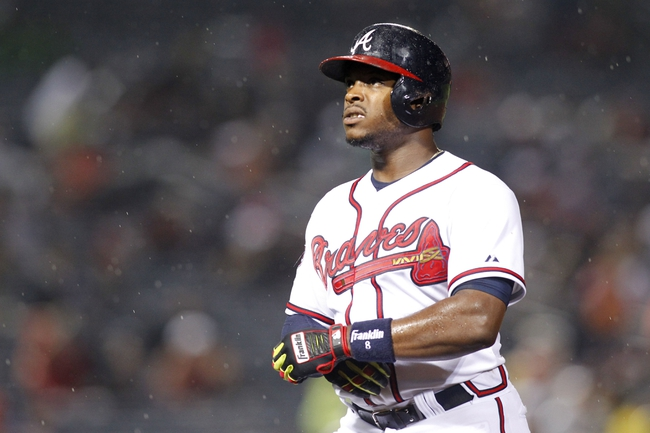 Jul 18, 2014; Atlanta, GA, USA; Atlanta Braves left fielder Justin Upton (8) in action against the Philadelphia Phillies in the seventh inning at Turner Field. Mandatory Credit: Brett Davis-USA TODAY Sports