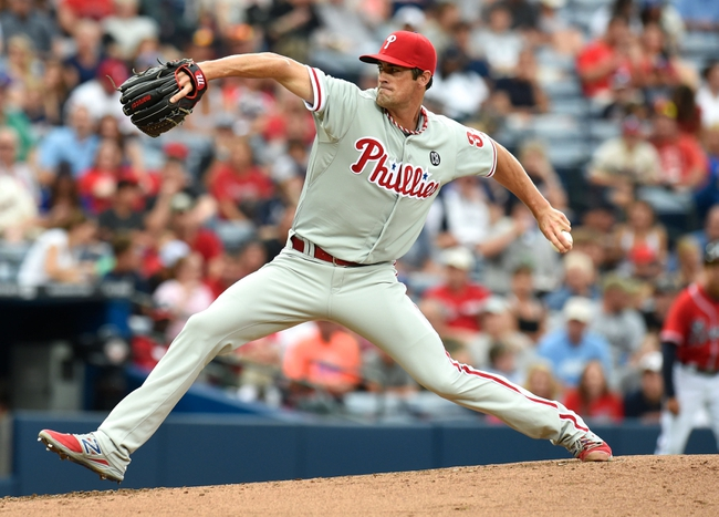 Jul 19, 2014; Atlanta, GA, USA; Philadelphia Phillies starting pitcher Cole Hamels (35) pitches against the Atlanta Braves during the second inning at Turner Field. Mandatory Credit: Dale Zanine-USA TODAY Sports