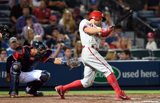 Jul 19, 2014; Atlanta, GA, USA; Philadelphia Phillies left fielder Grady Sizemore (24) doubles before scoring against the Atlanta Braves during the seventh inning at Turner Field. Mandatory Credit: Dale Zanine-USA TODAY Sports