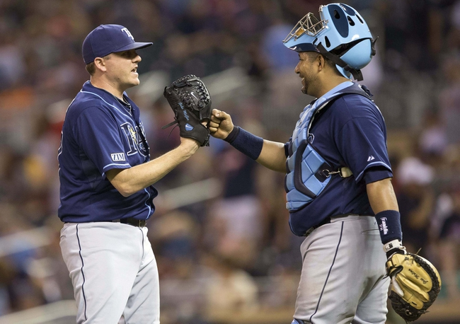 Jul 19, 2014; Minneapolis, MN, USA; Tampa Bay Rays relief pitcher Jake McGee (57) celebrates with catcher Jose Molina (28) after beating the Minnesota Twins at Target Field. The Rays won 5-1. Mandatory Credit: Jesse Johnson-USA TODAY Sports