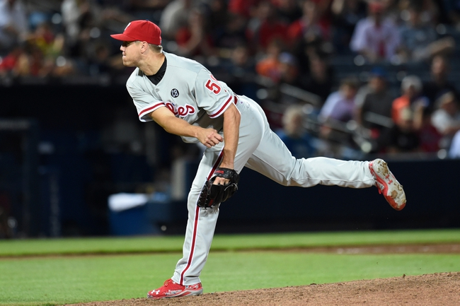 Jul 19, 2014; Atlanta, GA, USA; Philadelphia Phillies relief pitcher Jonathan Papelbon (58) pitches against the Atlanta Braves during the ninth inning at Turner Field. The Phillies defeated the Braves 2-1. Mandatory Credit: Dale Zanine-USA TODAY Sports