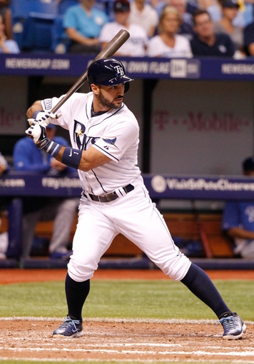 Jul 8, 2014; St. Petersburg, FL, USA; Tampa Bay Rays second baseman Sean Rodriguez (1) at bat against the Kansas City Royals at Tropicana Field. Mandatory Credit: Kim Klement-USA TODAY Sports