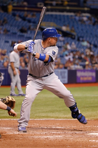 Jul 8, 2014; St. Petersburg, FL, USA; Kansas City Royals designated hitter Billy Butler (16) at bat against the Tampa Bay Rays at Tropicana Field. Tampa Bay Rays defeated the Kansas City Royals 4-3. Mandatory Credit: Kim Klement-USA TODAY Sports