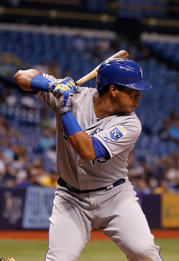 Jul 8, 2014; St. Petersburg, FL, USA; Kansas City Royals catcher Salvador Perez (13) at bat against the Tampa Bay Rays at Tropicana Field. Tampa Bay Rays defeated the Kansas City Royals 4-3. Mandatory Credit: Kim Klement-USA TODAY Sports