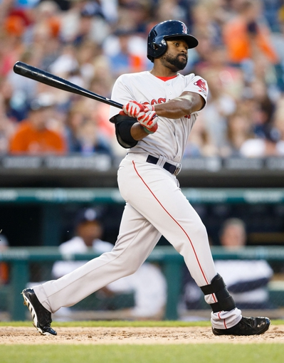 Jun 7, 2014; Detroit, MI, USA; Boston Red Sox center fielder Jackie Bradley Jr. (25) at bat against the Detroit Tigers at Comerica Park. Mandatory Credit: Rick Osentoski-USA TODAY Sports