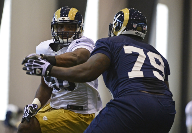 Jul 22, 2014; St. Louis, MO, USA; St. Louis Rams defensive end Michael Sam (96) runs through drills at Rams Park. Mandatory Credit: Jeff Curry-USA TODAY Sports