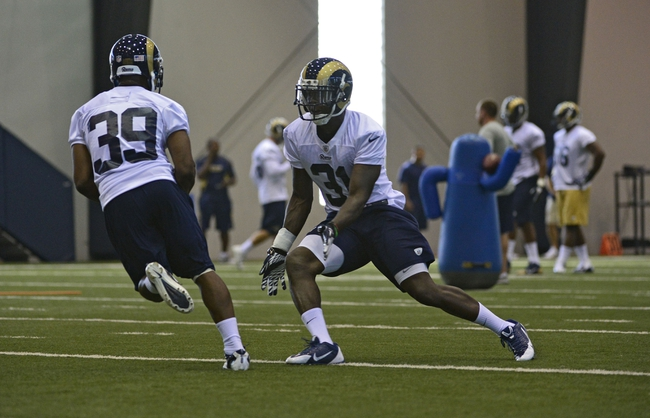 Jul 22, 2014; St. Louis, MO, USA; St. Louis Rams strong safety Maurice Alexander (31) runs through drills at Rams Park. Mandatory Credit: Jeff Curry-USA TODAY Sports