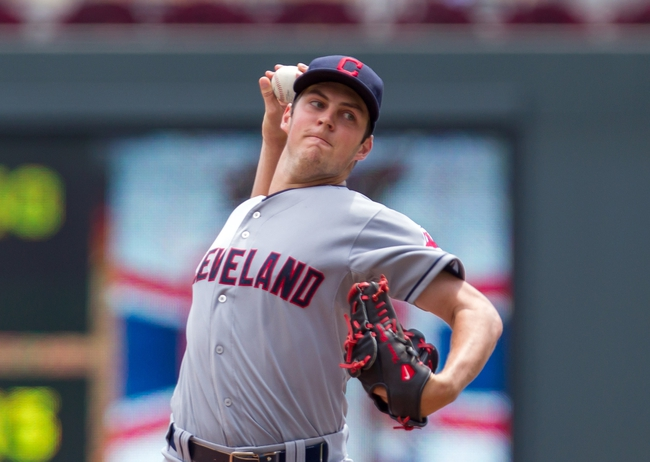 Jul 23, 2014; Minneapolis, MN, USA; Cleveland Indians starting pitcher Trevor Bauer (47) pitches in the first inning against the Minnesota Twins at Target Field. Mandatory Credit: Brad Rempel-USA TODAY Sports