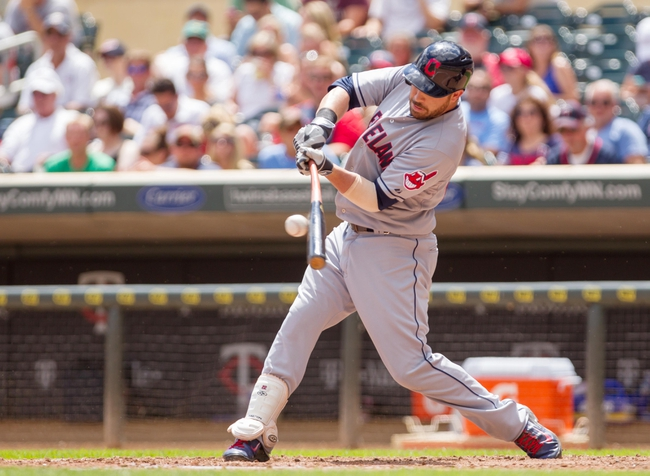 Jul 23, 2014; Minneapolis, MN, USA; Cleveland Indians second baseman Jason Kipnis (22) at bat in the sixth inning against the Minnesota Twins at Target Field. Mandatory Credit: Brad Rempel-USA TODAY Sports