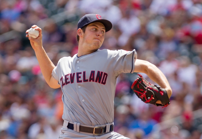 Jul 23, 2014; Minneapolis, MN, USA; Cleveland Indians starting pitcher Trevor Bauer (47) in the fourth inning against the Minnesota Twins at Target Field. Mandatory Credit: Brad Rempel-USA TODAY Sports