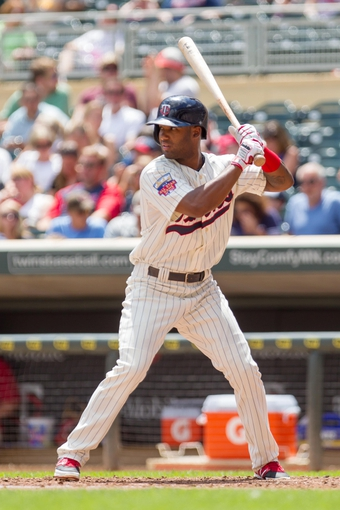 Jul 23, 2014; Minneapolis, MN, USA; Minnesota Twins center fielder Danny Santana (39) at bat in the fifth inning against the Cleveland Indians at Target Field. The Minnesota Twins win 3-1. Mandatory Credit: Brad Rempel-USA TODAY Sports