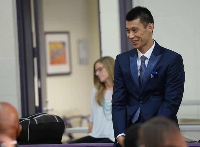 Jul 24, 2014; El Segundo, CA, USA; Los Angeles Lakers Jeremy Lin is introduced to the media during a press conference at Toyota Sports Center. Mandatory Credit: Jayne Kamin-Oncea-USA TODAY Sports