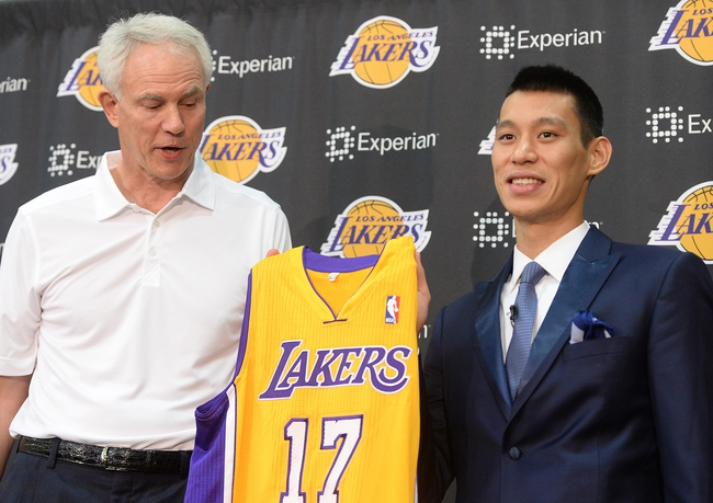 Jul 24, 2014; El Segundo, CA, USA; Los Angeles Lakers general manager Mitch Kupchak introduces Jeremy Lin during a press conference at Toyota Sports Center. Mandatory Credit: Jayne Kamin-Oncea-USA TODAY Sports
