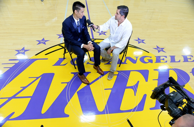 Jul 24, 2014; El Segundo, CA, USA; Los Angeles Lakers Jeremy Lin is interviewed for local TV after todays'  press conference at the Toyota Sports Center. Mandatory Credit: Jayne Kamin-Oncea-USA TODAY Sports