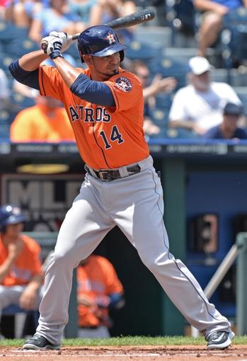 May 28, 2014; Kansas City, MO, USA; Houston Astros first basemen Jesus Guzman (14) at bat against the Kansas City Royals during the first inning at Kauffman Stadium. Mandatory Credit: Peter G. Aiken-USA TODAY Sports