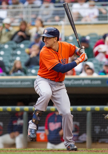 Jun 7, 2014; Minneapolis, MN, USA; Houston Astros catcher Jason Castro (15) at bat against the Minnesota Twins at Target Field. Mandatory Credit: Brad Rempel-USA TODAY Sports