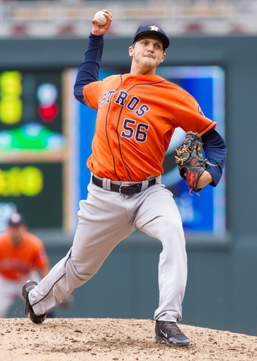 Jun 7, 2014; Minneapolis, MN, USA; Houston Astros relief pitcher Paul Clemens (56) pitches in the fourth inning against the Minnesota Twins at Target Field. Mandatory Credit: Brad Rempel-USA TODAY Sports