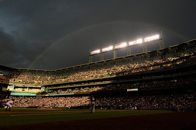 Jul 25, 2014; Denver, CO, USA; General view of  rainbow behind Coors Field during the game between the Pittsburgh Pirates and the Colorado Rockies. Mandatory Credit: Ron Chenoy-USA TODAY Sports