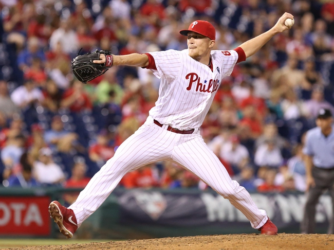 Jul 25, 2014; Philadelphia, PA, USA; Philadelphia Phillies relief pitcher Jake Diekman (63) pitches during the ninth inning of a game against the Arizona Diamondbacks at Citizens Bank Park. The Phillies won 9-5. Mandatory Credit: Bill Streicher-USA TODAY Sports