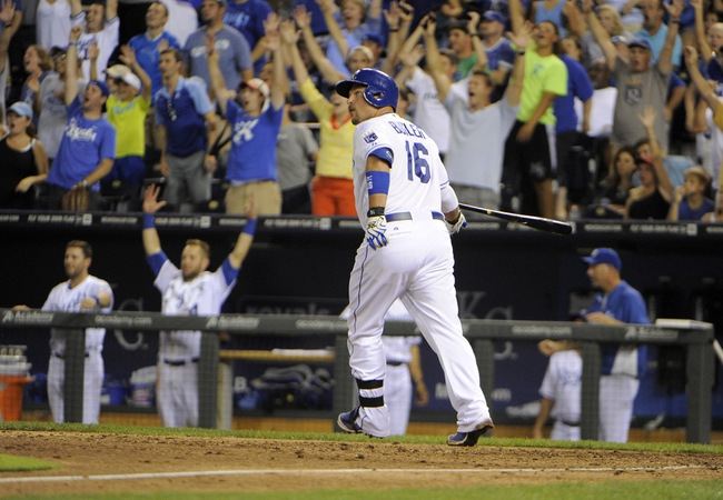 Jul 25, 2014; Kansas City, MO, USA; The crowd reacts after Kansas City Royals designated hitter Billy Butler (16) hits a 2 run home run in the eighth inning against the Cleveland Indians at Kauffman Stadium. Kansas City won the game 6-4. Mandatory Credit: John Rieger-USA TODAY Sports