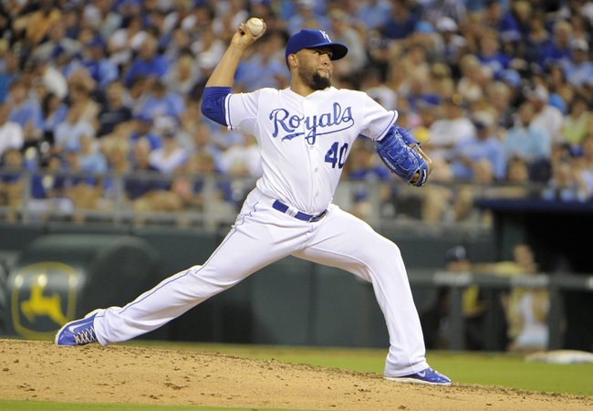 Jul 25, 2014; Kansas City, MO, USA; Kansas City Royals relief pitcher Kelvin Herrera (40) delivers a pitch against the Cleveland Indians in the eighth inning at Kauffman Stadium. Kansas City won the game 6-4. Mandatory Credit: John Rieger-USA TODAY Sports