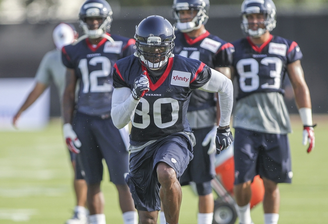 Jul 26, 2014; Houston, TX, USA; Houston Texans wide receiver Andre Johnson (80) runs a route during training camp at Houston Methodist Training Center. Mandatory Credit: Troy Taormina-USA TODAY Sports
