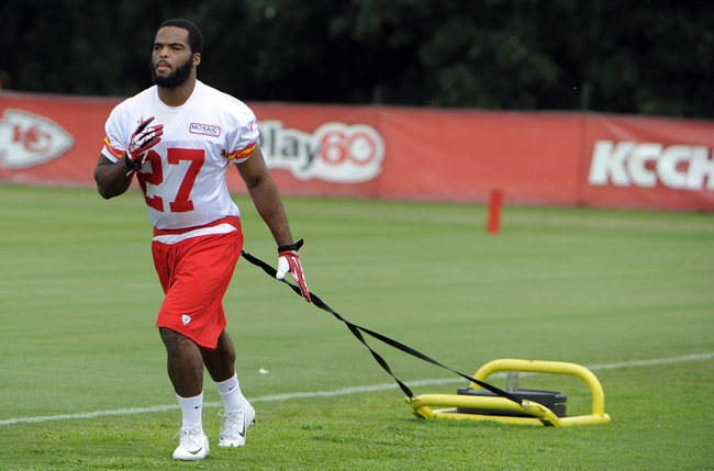 Jul 26, 2014; St. Joseph, MO, USA; Kansas City Chiefs cornerback David Van Dyke (27) pulls weights during training camp at Missouri Western State University. Mandatory Credit: John Rieger-USA TODAY Sports