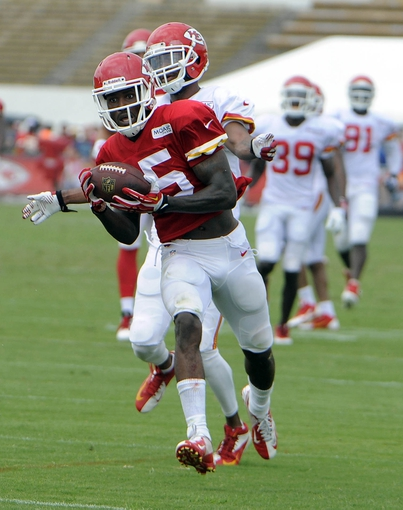 Jul 26, 2014; St. Joseph, MO, USA; Kansas City Chiefs wide receiver A.J. Jenkins (15) catches a pass against cornerback Marcus Cooper (31) during training camp at Missouri Western State University. Mandatory Credit: John Rieger-USA TODAY Sports